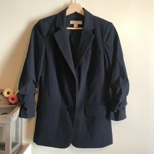 NWOT Michael Kors Rouched Sleeve Navy Blue Blazer